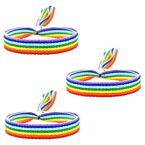 BDM Pulsera Bandera LGTBI, Orgullo Gay, de Tela con el arcoíris. - 3 Unidades