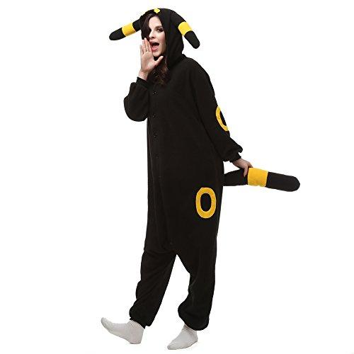 Adulto Unisexo Umbreon amarillo Umbreon Azul Pokémon Pikachu onesie Fiesta Disfraz de Kigurumi Con Capucha PIJAMA Sudadera Ropa Para Dormir regalo de Navidad (Umbreon amarillo, M(height 160cm-170cm))
