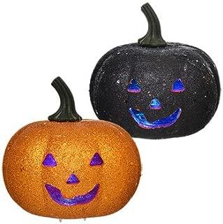 Orange & Black Glitter LED Flashing Light Pumpkin Halloween Decoration (Pack of 2/ 1 Orange, 1 Black))