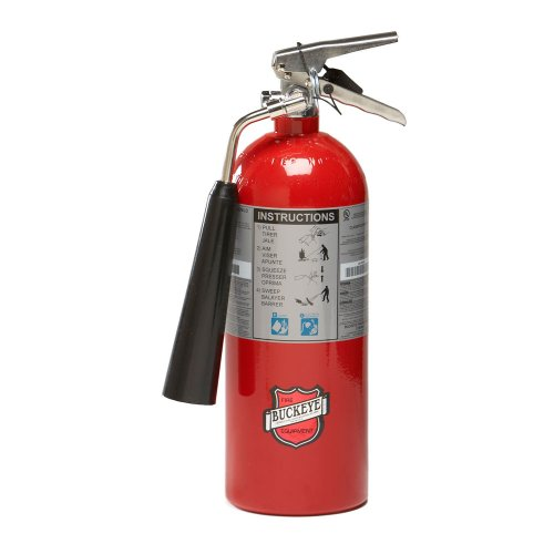Buckeye 45100 Carbon Dioxide Hand Held Fire Extinguisher with Wall Hook, 5 lbs Agent Capacity, 5-1/4