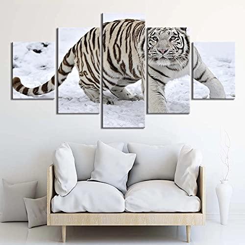 GUANGWEI Impresión En Lienzo Póster HD 5 Combinación De Pintura Colgante Tigre Blanco Nieve Marco De Dibujo Decorativo del Paisaje del Regalo del Arte De La Pared del Hogar