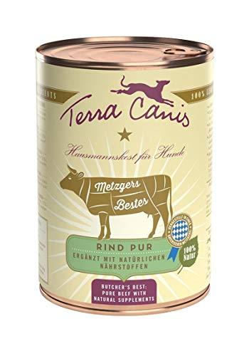 Terra Canis Metzgers Bestes Rind Pur Nassfutter I Reichhaltig, Premium Hundefutter in echter Lebensmittelqualität der Rohstoffe - Rinderherz & Rinderlunge I 400g, allergenarm, Getreide- & glutenfrei