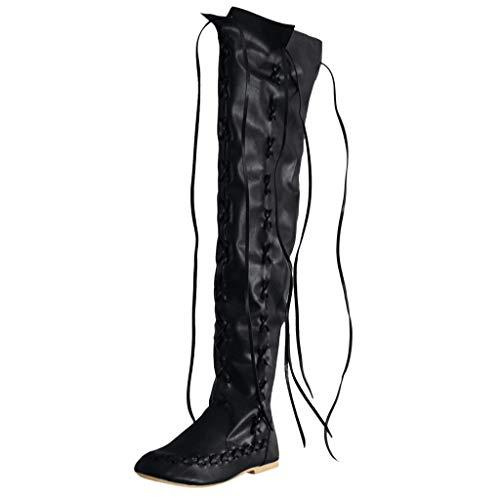 LILIHOT Klassische Runde Form Mit Niedrigen AbsäTzen FüR Damen SchnüRschuhe Bestickter Western Stiefel Frauen Stretch Faux Slim Hohe Overknee High Heels Schuhe