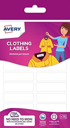 Avery ETVET36 Etiquetas para telas sin irón 45 x 13 mm, blancas, adhesivo permanente, 36 etiquetas por paquete