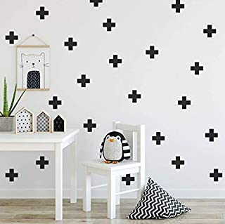 Black Plus Sign 2 Inch 125Pcs Removable Wall Decals For Kids Room Decoration, Vinyl Decor By Bugybagy (Matte Black)
