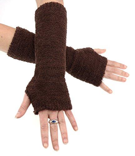 Caripe Fingerlose Armstulpen Damen Handschuhe Strick Stulpen lang, 11 (braun FLA)