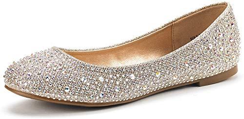 DREAM PAIRS Women's Sole-Shine Gold Rhinestone Ballet Flats Shoes - 8.5 M US