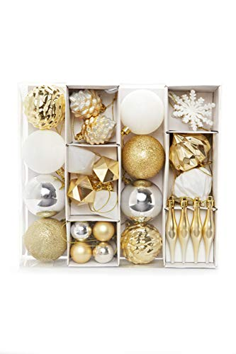 HEITMANN DECO Lot de 29 Boules de Noël - Or, Argent, Blanc - À Suspendre - en Plastique