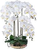 SXCDD Árbol de bonsáis de la Navidad Artificial con jarrones, orquídeas y jarrones de plástico Blanco, Flores Artificiales de PU PHALAENOPSIS, para Sala de Estar decoración de Muebles para la casa