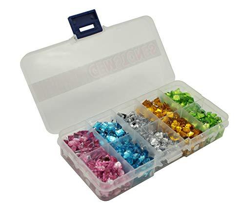 Craft Sensations 1300 künstliche Schmucksteine Edelsteine Strasssteine Glitzersteine Gemstones zum Basteln Bunt Sortiert in Einer Praktischen Aufbewahrungs-Box