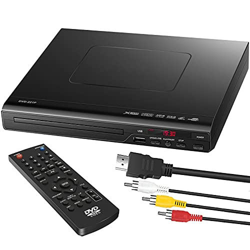 DVD Player, DVD Players for TV Region Free DVD Disc CD Players with HDMI AV Output USB Input Remote Control AV Cable, for Home Study