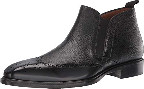 Mezlan Bexley - Mens Luxury Contemporary Wing Tip Ankle Boot - Exquisite Shiny Calfskin and Deerskin with Accented Toe - Handcrafted in Spain - Medium Width (10.5, Black)