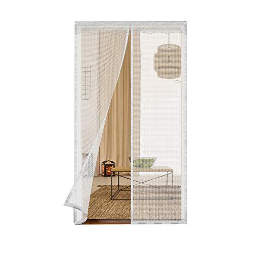 2020Upgraded Magnetic Screen Door with 32 Magnets&6 Gravity Sticks Heavy Duty Fiberglass Mesh Curtain and Full Frame Hook & Loop 39'W x 82'H Door Net Screen with Magnet Mosquito Screen Door (White)