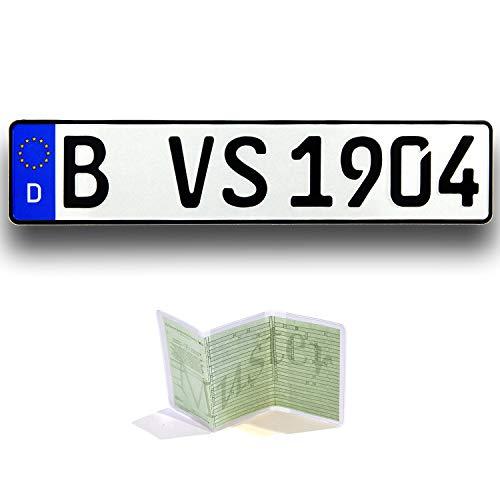 VooSale 1 Autoschild | Kennzeichen DIN-Zertifiziert und reflektiernd nach ihrem Wunsch geprägt inklusive Einer Fahrzeugscheinhülle