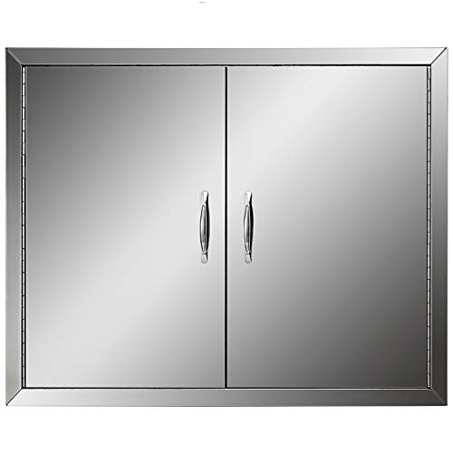 Mophorn BBQ Double Access Door 31W x 24H Inch, BBQ Door Stainless Steel Wall Construction Vertical, Outdoor Kitchen Door for BBQ Island, Grilling Station, Outside Cabinet