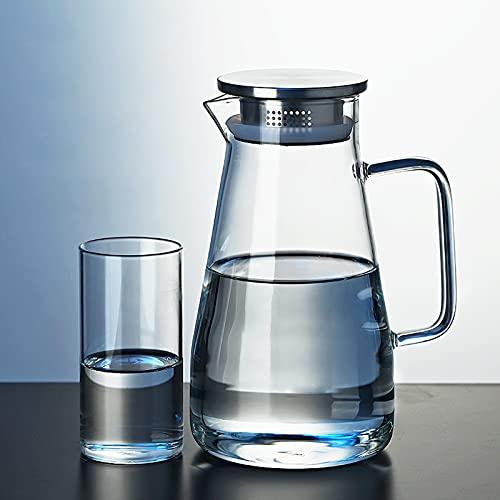 QDTD 2.6L Jarra de Agua Cristal Borosilicato Jarra de Agua con Tapa Acero Inoxidable Agua Caliente y Fría Carafe para Agua Leche Zumo Té Helado Limonada y Bebidas Chispeantes(Size:3 Pieces)