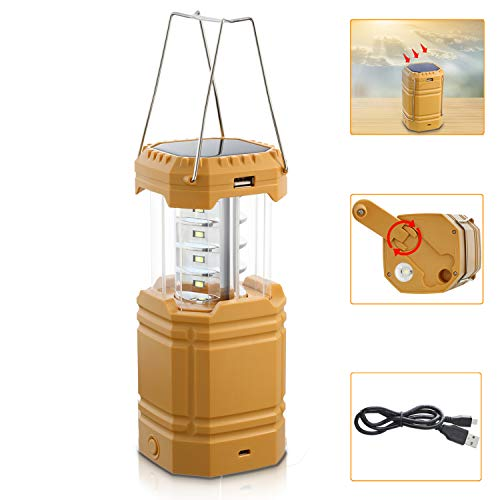 Rechargeable Solar Camping Lantern with Hand Crank, LED Camping Lantern Flashlight with USB Cable, Collapsible Camping Lights Battery Powered, Waterproof Emergency Lantern for Hiking, Hurricane