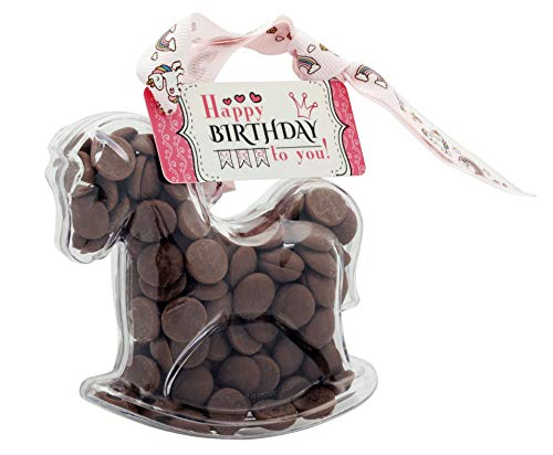 ButtonChocs Happy Birthday Rocking Horse, Pony. A Little Belgian Milk Chocolate Gift. Unicorn Ribbon.
