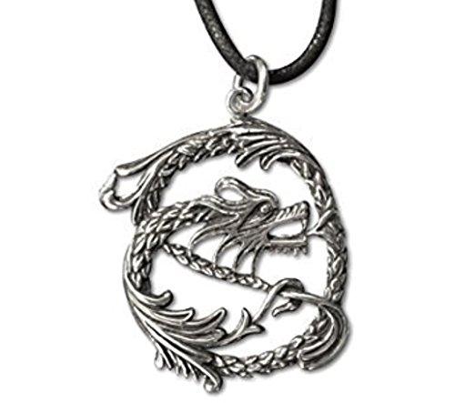Et Nox Sterling-Silber 925 Groß, Orientalischer Stil, Drache Anhänger Halskette
