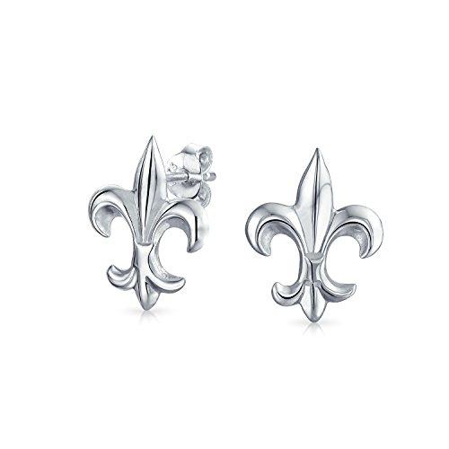 Minimalistische Fleur De Lis Zeichen Ohrstecker Für Damen Für Herren Aus Poliertem Sterling Silber 925
