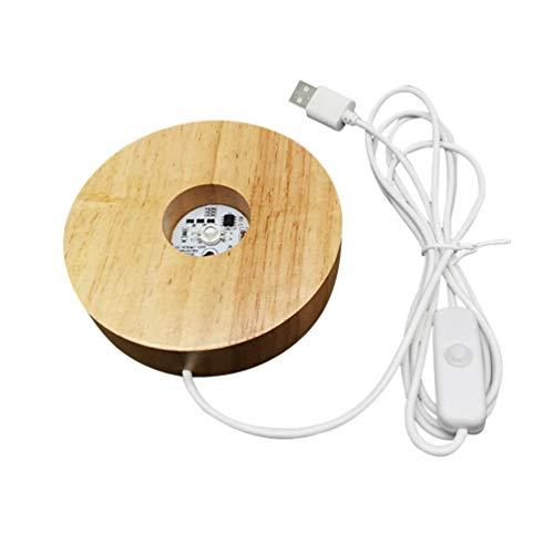 Mobestech USB de madera de la base de la luz del LED de la base de la exhibición del escritorio colorido ornamento