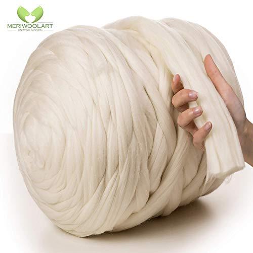 MeriWoolArt 100% Merinowolle zum Stricken & Häkeln mit 4-5 cm dickem Garn   Dicke Merino Wolle für XXL Schal, Decke & Kissen (Natürliche Farbe, 4,5Kg Knäuel)