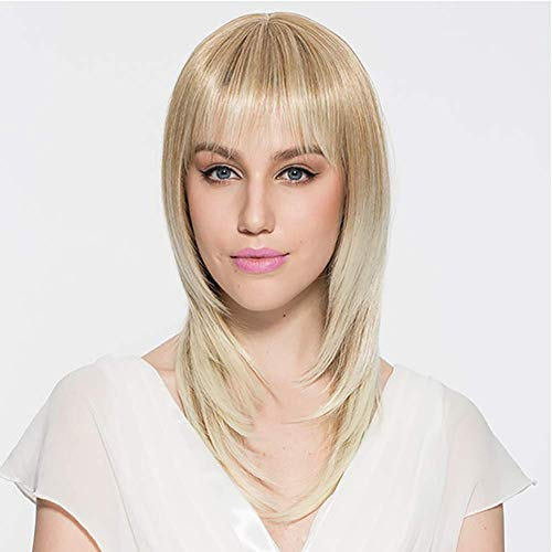 CHUTD Synthetische Pruik Rechte Stijl Capless Pruik Blond Haar Vrouwen Natuurlijke Haarlijn Blonde Pruik Korte Natuurlijke Pruiken 49Cm/19Inch