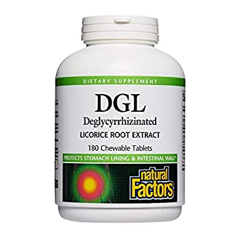 Natural Factors DGL Licorice Root Extract Natural Digestive Relief 180 Tablets