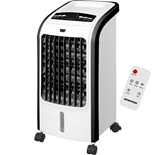 Syntrox Germany 4 in 1 Luftkühler Luftbefeuchter Lufterfrischer und Ventilator mit Fernbedienung Luftdurchsatz 900 m³/h AC-80W 4L Air