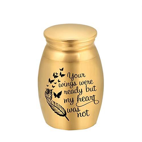Chutoral Kleine Urnen für menschliche Asche, Mini-Urne aus Edelstahl, Andenken, Andenken, Aschehalter (Gold)