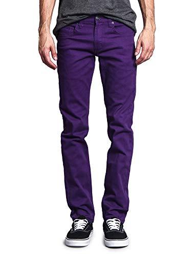 Victorious Men's Skinny Fit Color Stretch Jeans DL937 - Purple - 36/30