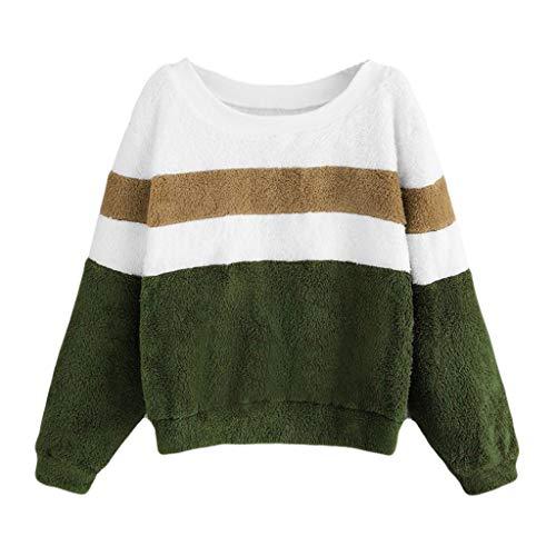 HULKY Liquidazione Donne Casuale Patchwork Contrasto Colore Sport Faux Peluche Felpa Pullover Top(Verde dell'Esercito,x-Large)