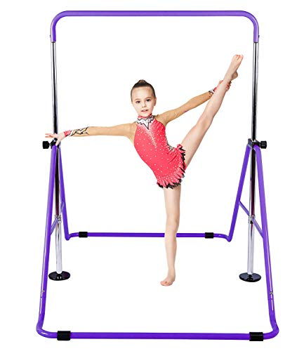 KidoGym Gymnastic Bars for Kids with Adjustable Height, Folding Gymnastic Training Kip Bar for Home, Junior Expandable Horizontal Monkey Bar … (Purple)