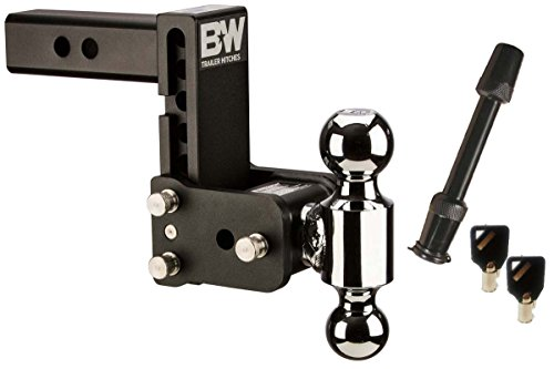BampW Hitches TS10037B Tow amp Stow Model 8 555quot Adjustable Dual Ball Mount Hitch and 5/8quot Black Receiver Hitch Lock