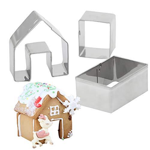 DOMIRE 3 Pc-Lebkuchen-Haus Ausstechformenset Bake Ihr Eigenes Kleines Knusperhäuschen Kit Little Cookie Christmas House Backform Küchenzubehör