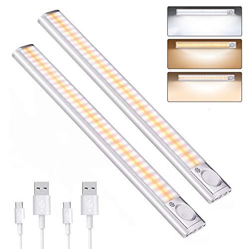 DFGOTOP Luz Sensor LED Recargable USB,Luces LED Armario Cocina Sensor,Lampara 160 LED Armario Cocina Sensor 3 Color 4 Modos 2PCS