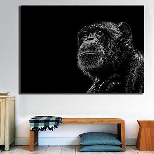 KWzEQ Modernes Ölgemäldeplakat des Schimpansenwildtiers und Druckdekorationswohnzimmer-Hauptdekoration,Rahmenlose Malerei,45x67cm