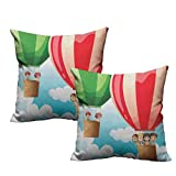 2 Piece Square Throw Pillow Cover Children in Hot Air Balloons Flying Kids Adventure Exploration Themed Illustration 18'x18',for Bedroom Living Room Sofa Home Decor