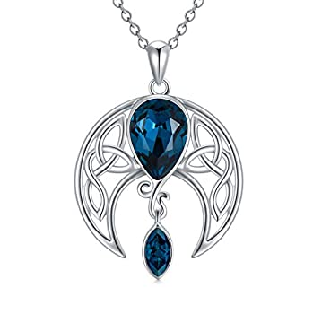 AOBOCO Moon Necklace Sterling Silver Celtic Knot Crescent Moon Goddess Pendant Irish Good Luck Necklace for Women Mom Wife Embellished with Crystals from Austria