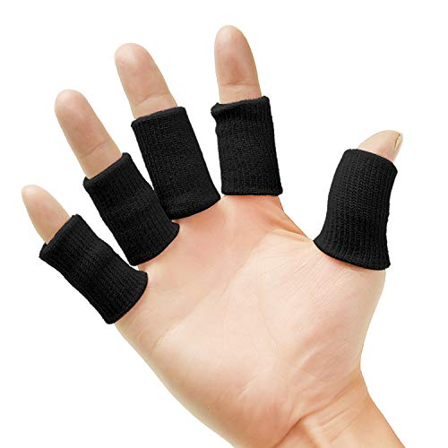 Senkary 20 Pieces Finger Sleeves Protectors Thumb Brace Support Elastic Compression Protector for Relieving Pain, Arthritis,Trigger Finger, Sports (Black)