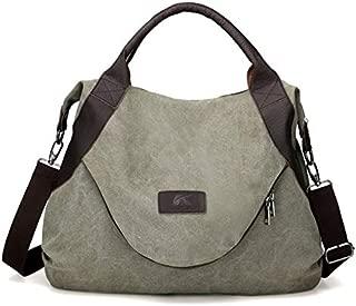 JAUROUXIYUJINn Vintage Canvas Shoulder Slung Female Bag Large Capacity Casual Ladies Handbag Simple Bag (Color : Green)
