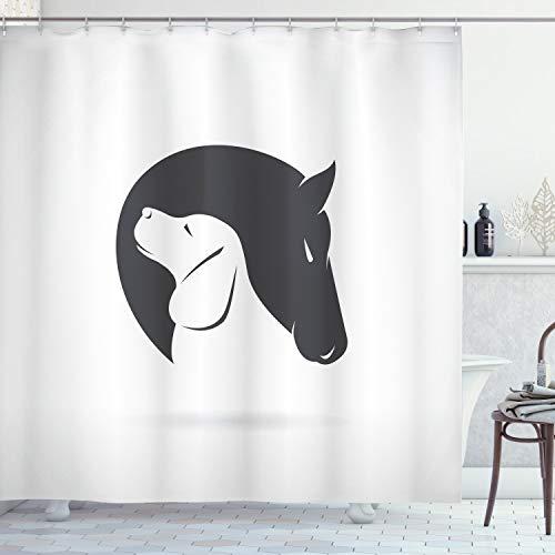 ABAKUHAUS Schwarz-Weiss Duschvorhang, H& Pferd Fre&, mit 12 Ringe Set Wasserdicht Stielvoll Modern Farbfest & Schimmel Resistent, 175x200 cm, Weiß Schwarz