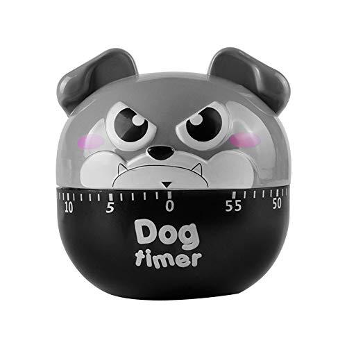Niedlicher Hund Küchentimer Manuell mechanisch rotierender Alarm 60 Minuten Countdown Timer für Kochen Küche Backen (Grau)