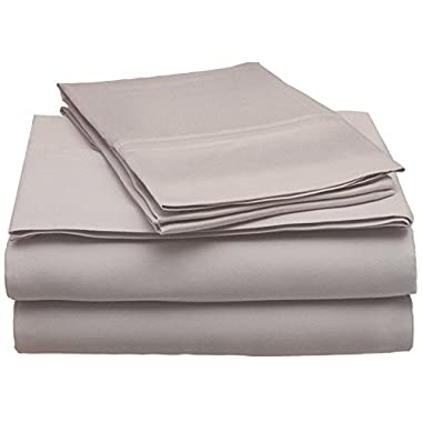 Superior 300 Thread Count Queen Sheet Set, 100% Modal from Beech, Solid, Grey