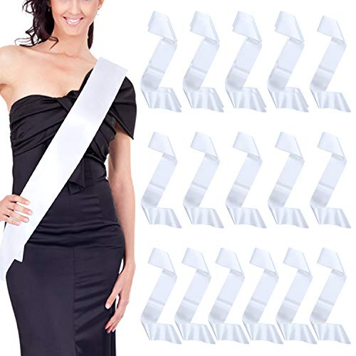 Dreamtop 16 Pack Blank Satin Sash DIY Plain Pageant Sash for Homecoming Pageants Parades Bachelor Wedding Birthday Party, White