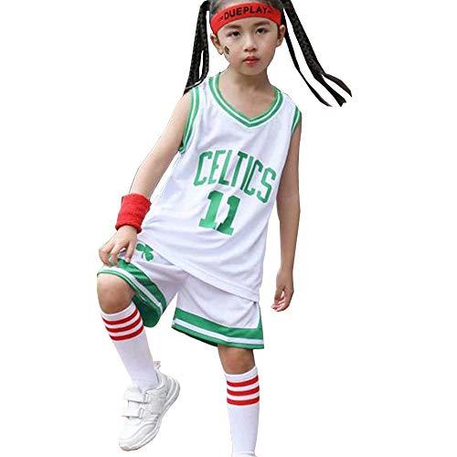 Kyrie Irving 11# Kinder Basketball Jersey Anzug Boston Celtics, Sommer Atmungsaktive Stickerei Training Ärmellose Weste Shorts Sets-White-XL