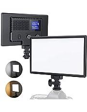 RALENO LED-kamera videoljus, inbyggda uppladdningsbara batterier 3200K-5600K dimbar tvåfärgad och ljusstyrka CRI95 ultratunn videolampa med LCD-display för spädbarn YouTube Interview porträtt