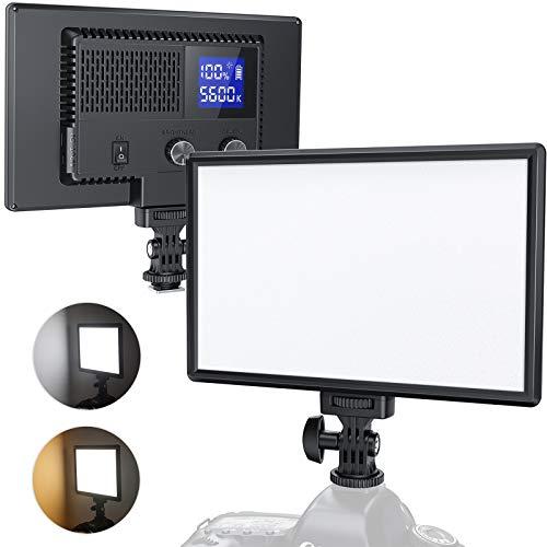 RALENO LED Kamera Video Licht, Eingebauter Wiederaufladbare Batterien 3200K-5600K Dimmbarer Zweifarbig und Helligkeit CRI95+ Ultradünne Videoleuchte mit LCD Display für Babys YouTube Interview Porträt