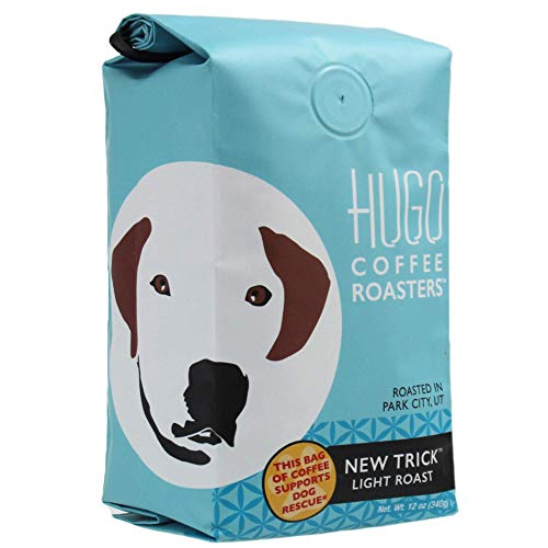 Hugo Coffee Ground New Trick Light Roast Coffee with Bright, Playful, and Sweet Tasting Notes   Hugo Supports Dog Rescues (12 oz)