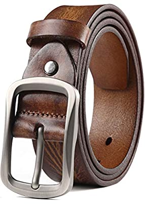 COW STAUNCH Mens Dress Belt,Full Grain Leather Belt,Single Prong Big Buckle - for Casual Jeans,Brown (Khaki, 38-40inch)